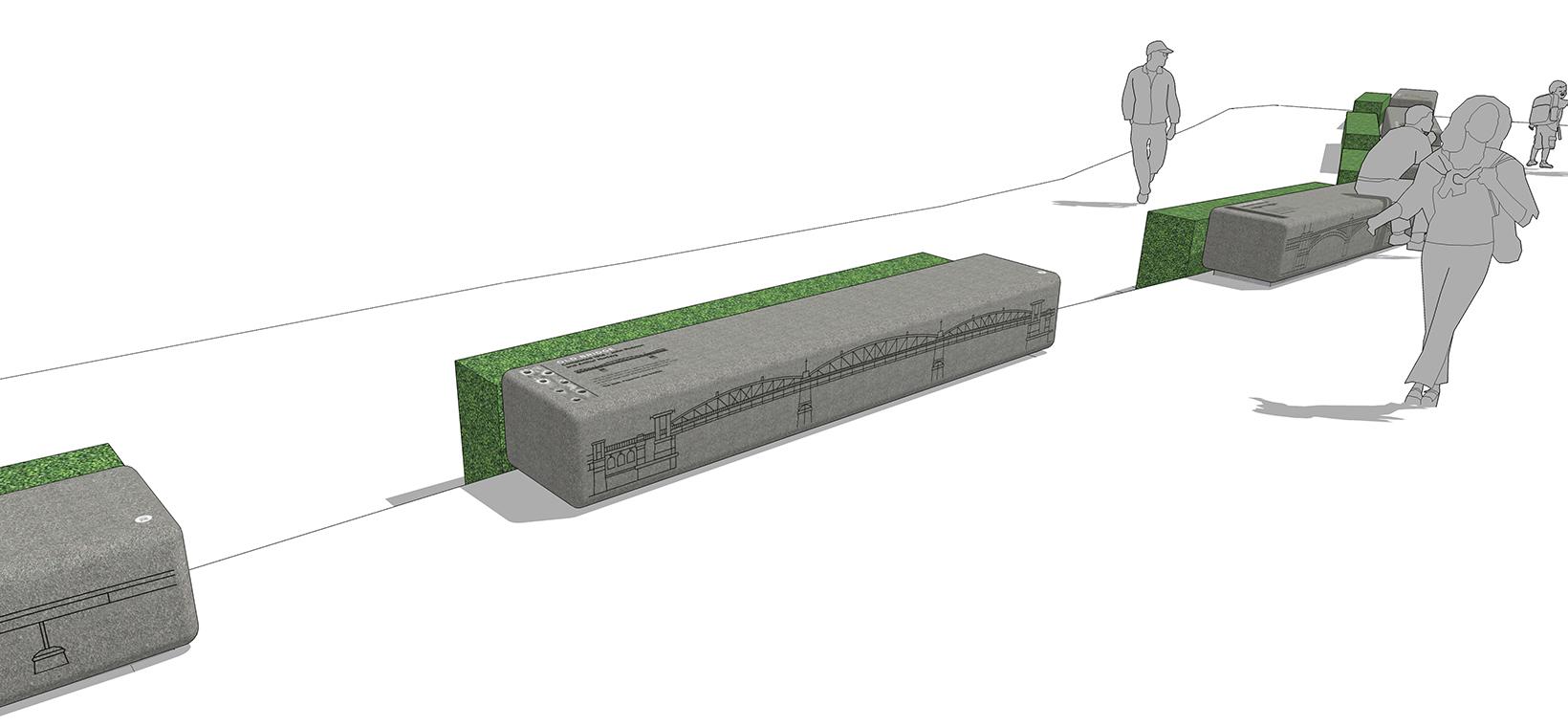 Modele 3D des illustrations de ponts créés sur des bancs pour Rochester Bridge