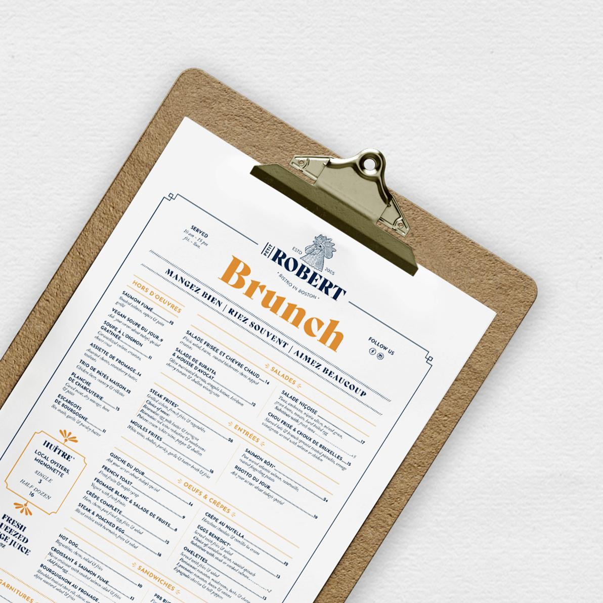Création du menu du restaurant Petit Robert Bistro
